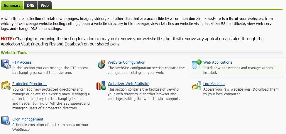Install WordPress through the Application Vault